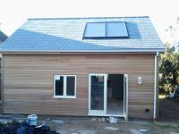 Timber frame house extension, cedar clad, Polzeath, Cornwall
