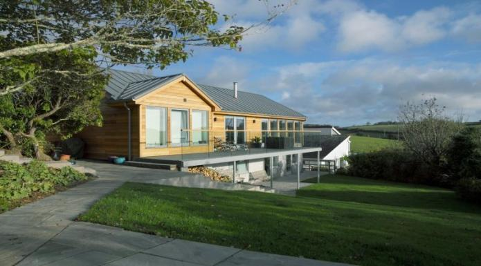Cedar clad timber frame house, Cornwall